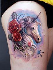 可爱漂亮的彩色独角兽纹身图案