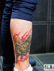 小腿经典麒麟纹身图案