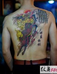 背部传统经典的麒麟神兽纹身