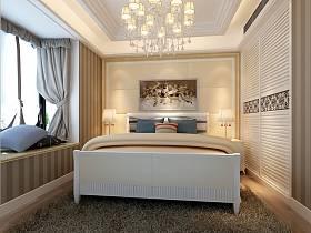 欧式卧室吊顶窗帘衣柜设计案例展示