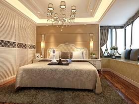 欧式卧室吊顶窗帘衣柜设计图