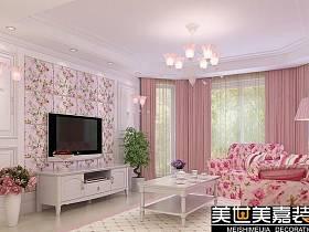 田園鄉村風格客廳臥室吊頂窗簾電視背景墻裝修案例