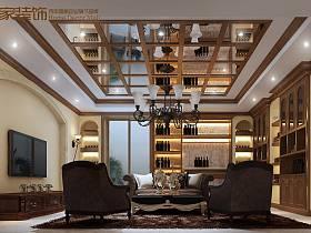 歐式客廳吊頂酒柜電視背景墻設計圖
