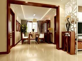 中式中式風格餐廳吊頂酒柜裝修效果展示