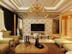 欧式客厅吊顶电视背景墙设计方案