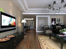 现代现代风格客厅吊顶电视背景墙设计图