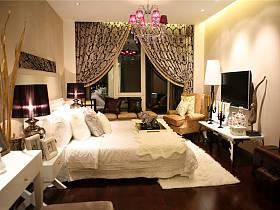 现代简约卧室窗帘电视背景墙设计方案