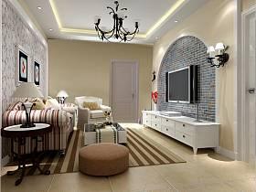 地中海地中海風格客廳吊頂電視背景墻設計案例