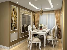 歐式餐廳吊頂窗簾裝修圖