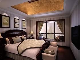 美式美式风格卧室吊顶装修效果展示