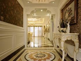 欧式玄关别墅过道吊顶茶几玄关柜设计案例展示