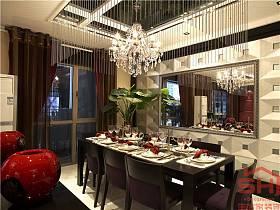 現代餐廳吊頂窗簾裝修案例