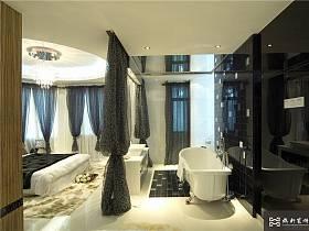 现代简约卧室浴室吊顶淋浴房设计案例