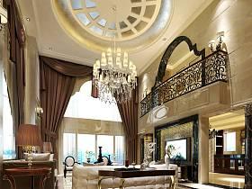 欧式客厅吊顶沙发茶几装修案例