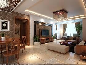 中式客廳沙發電視柜茶幾設計案例展示