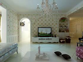 韩式客厅吊顶电视背景墙设计案例展示