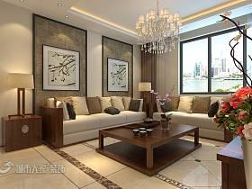 中式中式风格新中式客厅背景墙沙发客厅沙发设计案例展示