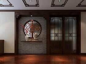中式玄關玄關柜效果圖