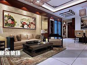 中式中式风格客厅三居背景墙沙发客厅沙发设计图