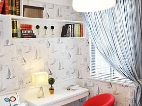 時尚臥室窗簾椅子小書桌椅壁紙設計案例展示