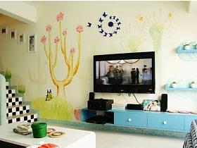 客厅背景墙楼梯电视背景墙时钟装修案例