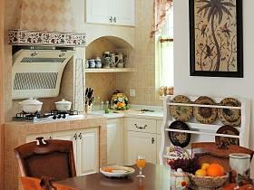 田園美式餐廳廚房餐桌設計案例