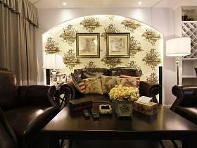 自然现代客厅背景墙沙发茶几设计图