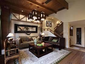中式現代客廳背景墻椅藤椅設計案例展示