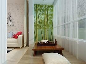 日式日式风格阳台茶几壁纸设计图