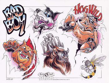 可爱卡通狗狗猪纹身图案图片