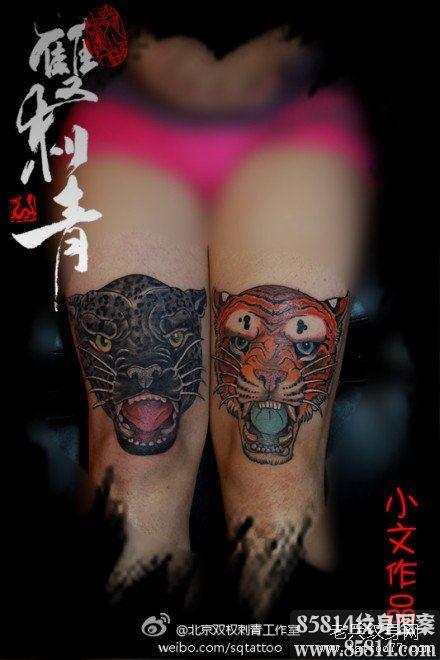 女生腿部潮流的虎头与豹头纹身图案