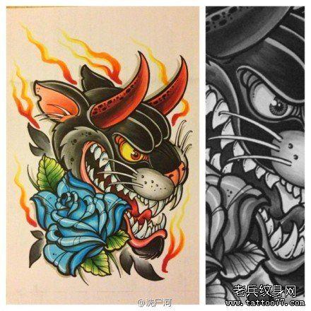 时尚超帅的豹头与玫瑰纹身图案