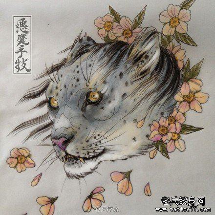 时尚帅气的一款豹头纹身手稿