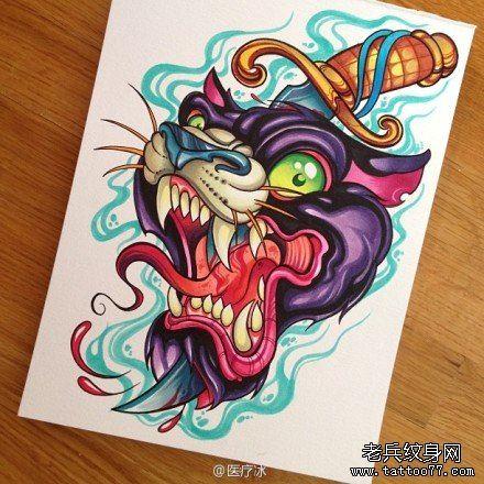 超帅霸气的一款豹头纹身手稿
