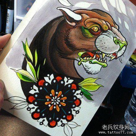 超帅很酷的一款豹头纹身手稿