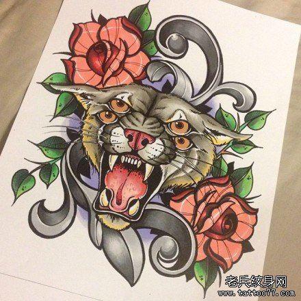潮流很帅的一款四眼豹头纹身图案