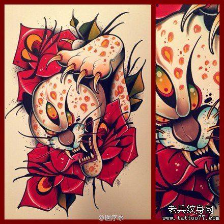 潮流很酷的一款豹头纹身手稿