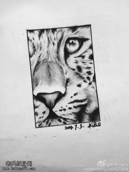 豹头纹身手稿图案