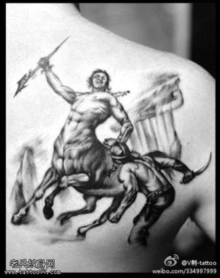 威猛霸气马身人像纹身图案