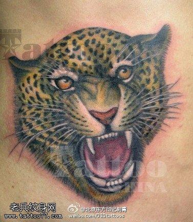 凶猛的豹头纹身图案
