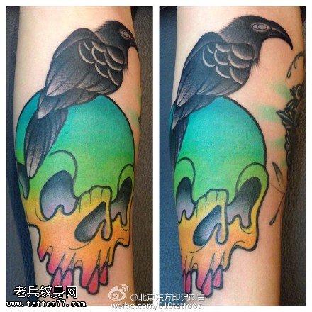嘎巴拉骷髏烏鴉紋身圖案