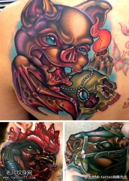 背部招财小猪纹身图案