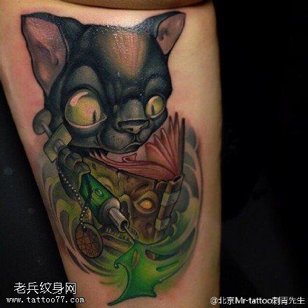 嘎巴拉大眼猫纹身图案