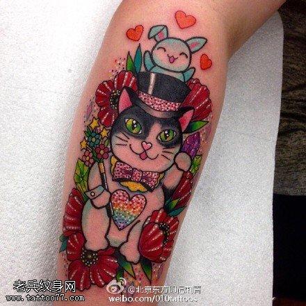 嘎巴拉绅士的猫纹身图案