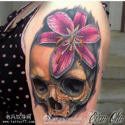 肩膀嘎巴拉百合骷髏紋身圖案