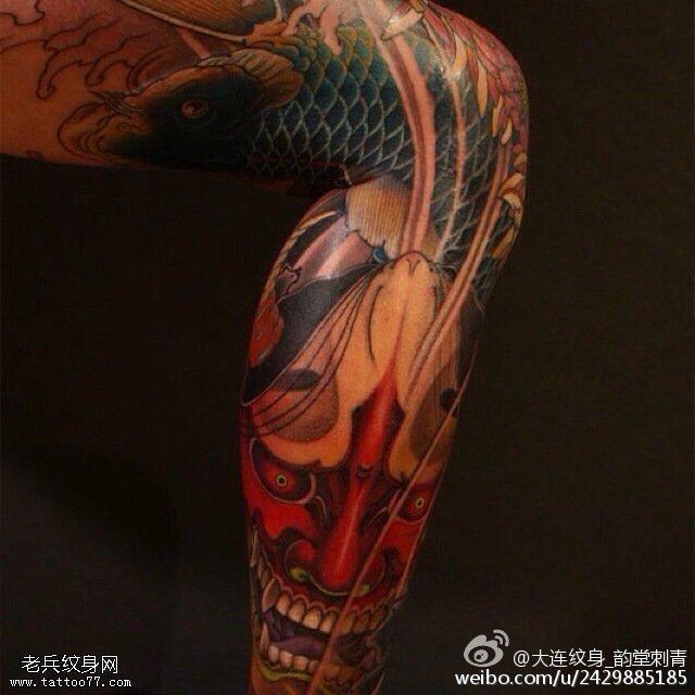 腿部锦鲤般若纹身图案