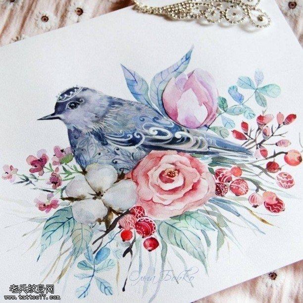 手稿彩繪清新的鳥花卉紋身圖案