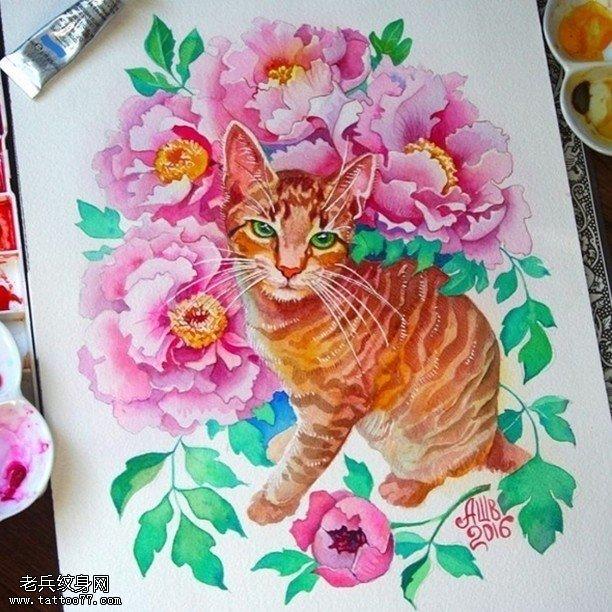 手稿清新的牡丹貓咪紋身圖案