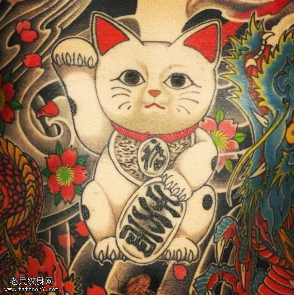 手稿招財貓紋身圖案