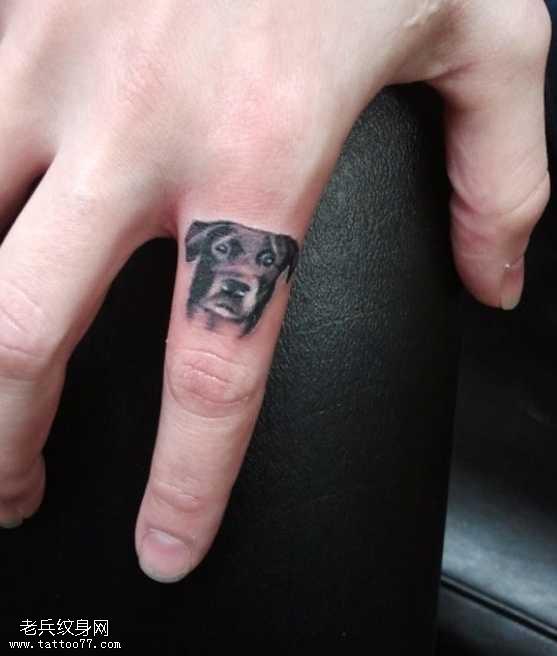 手指漂亮的小狗头像纹身图案